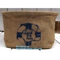 Quality Fabric 3 sets Jute home organization storage basket/boxes stackable for household with cotton handle bagease package wholesale