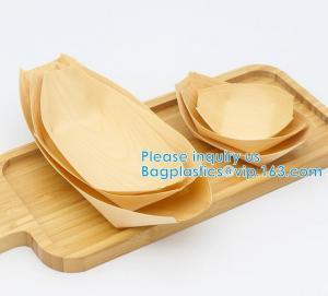 "Quality Finger Food - Bowls, ""Boat"" Biodegradable Wood Promotion - Party Wedding Supplies, 130mm Disposable Sushi/Salad/Dessert wholesale"