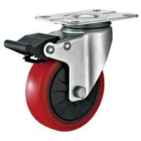 Quality 4 Inches Polyurethane PU Caster Wheel With Total Locking Brakes Color Optional wholesale