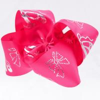 Quality Big Hair Bow Ribbon Rose Red Color 100% Polyester Material 4 Inch Width wholesale