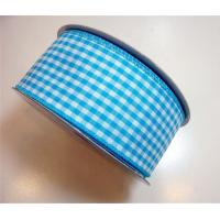 Quality Durable Gingham Wired Ribbon Blue / Brown / Purple Color Double Face wholesale
