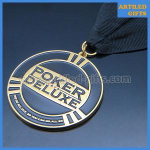 Quality Soft enamel logo poker game tournament winner gold medal ribbon of honour wholesale
