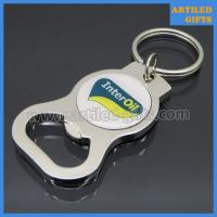 Quality Printed custom logo Interoil Zinc alloy metal bottle opener with key chain wholesale