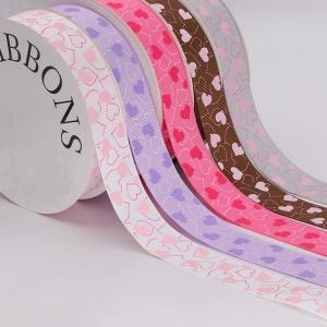 Quality Fancy 1 Inch Grosgrain Ribbon , Pink / Light Purple Custom Printed Ribbon wholesale