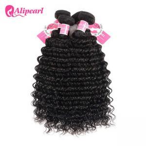 Quality 3 Pcs Brazilian Human Hair Bundles Deep Wave , Brazilian Remy Hair Extensions wholesale