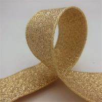 Quality Durable Gold Glitter Ribbon , Grosgrain Fabric Gift Packaging Ribbon wholesale