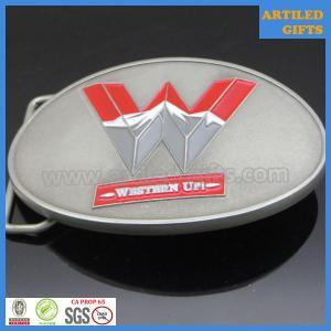 Quality Antique silver base soft enamel western up casting alloy belt buckle wholesale