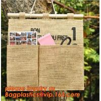 Quality manufacturer Natural Jute canvas fabric wall hanging storage organizer carriage bag,Wall hanging pocket storage organize wholesale