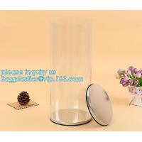 Quality clear PVC PET can for food canning,Customized round clear paint can with tin lid,paint can with tin top & bottom and han wholesale