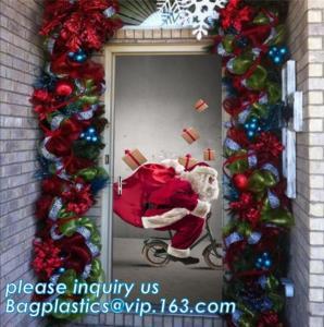 Quality indoor & outdoor door poster PE plastic window cover for halloween christmas decoration,Door Poster Christmas Gift Decor wholesale