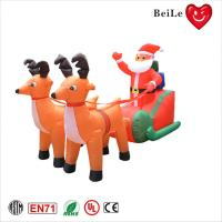 Quality Christmas festival decoration two inflatable reindeer pull sled with santa claus wholesale