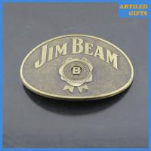 Quality Emboss logo Jim Beam Antique immitation brass belt buckle wholesale