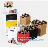 Quality flower carrier bag for gift, paper bag for carry flower,Waterproof white Kraft paper flower bag for packing with ribbon wholesale