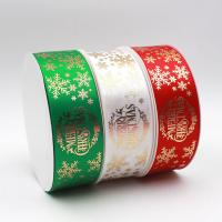 Quality Green / Red / White Decorative Fabric Ribbon Grosgrain Type Single / Double Face wholesale