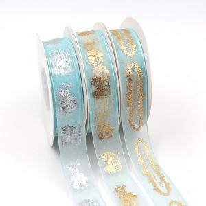 Quality Gold Printed Organza Ribbon , Double Face Type Organza Wedding Ribbon wholesale