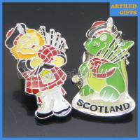 Quality Cartoon style county souvenir Scotland mascot metal pin badge with epoxy surface wholesale