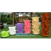 Quality PP Plastic materials hydroponic vertical tower stackable plastic garden pots,vertical tower farming use stacking planter wholesale