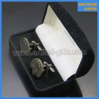 Buy cheap Chrome finish palm hand logo engraved cuff links for men with velvet box packing from wholesalers