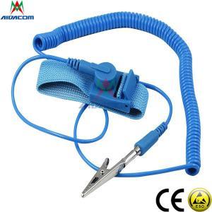 Quality RoHS EPA Copper Button Blue 3.6m Cord ESD Wrist Strap wholesale