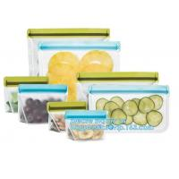 Quality Food Grade Leakproof Fresh Large Zipper Freezer Reusable Silicone Food Preservation Storage Bags With Bagplastic wholesale
