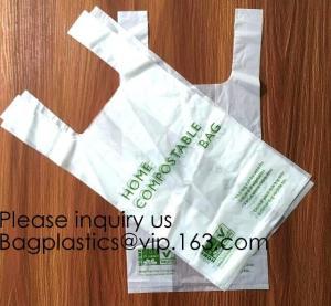 Quality OK Compost 100% Corn Starch Biodegradable Plastic T Shirt Bag Vest Bag Bioplastic Shopping Bag For Grocery wholesale