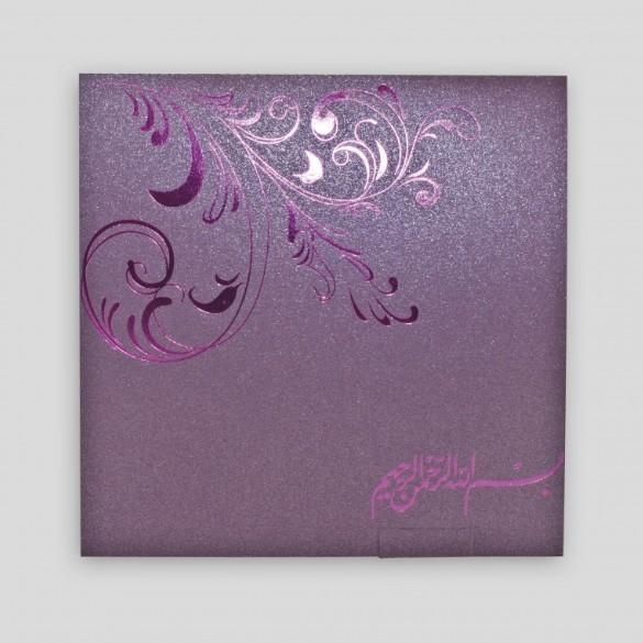 Cheap XMT-C036 purple foil stamping greeting card & envelope printing for sale